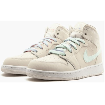 "Women's Nike Air Jordan 1 Mid GG 555112-035 ""Multi Color Swoosh"" On Sale"