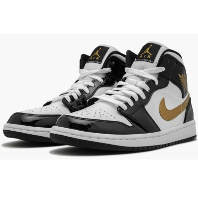 "New Air Jordan 1 Mid Patent 852542-007 ""Black Gold"" 2019"